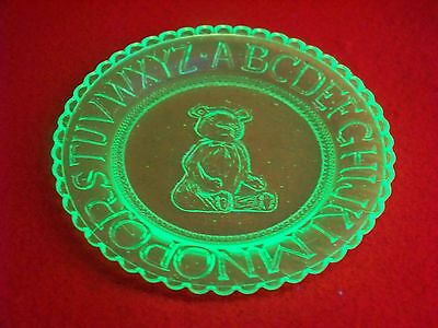 VASELINE GLASS BEAR A.B.C. CHILD COLLECTOR ## nice ## glows       (( ID178988 ))