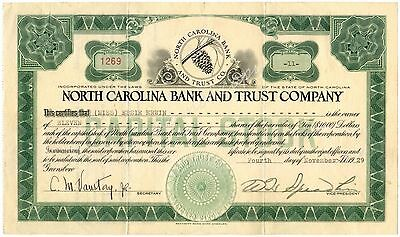 Stock Certificate North Carolina Bank and Trust Company 1929 Vintage NC