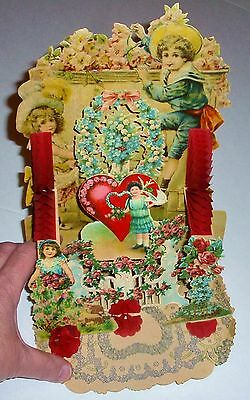 Antique Victorian Pop-Up Valentine With Crepe Paper Hinges - Large 9.5 In. Tall