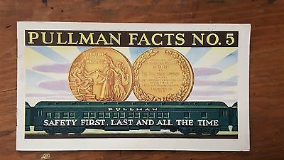 1920s antique PULLMAN CAR FACTS ADVERTISING BOOKLET #5 safety VGC railroad train