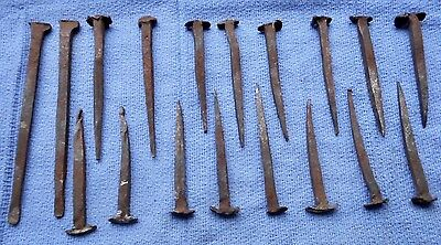 Antique Hand Forged Rose Head Nails Lot Of 18 Mixed Sizes
