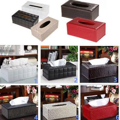 PU Leather Tissue Box Cover Pumping Paper Napkin Holder Home Organizer 6 Colors