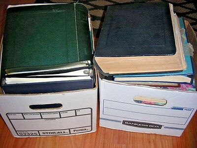 US/WW, 2 Banker Boxes of Stamps & FDC's in albums, binders, glassines, loose
