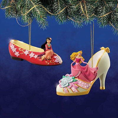DISNEY AURORA and MULAN Once Upon A Slipper Ornament Collection Set #12 NEW