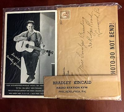 Vintage Bradley Kincaid Mail In Photographs & Envelope Radio Station KYW Used