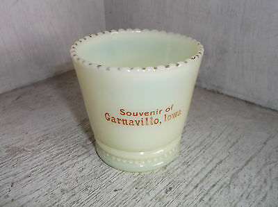 Souvenir GRANAVILLO IOWA Yellow Custard Glass Toothpick Holder Vintage
