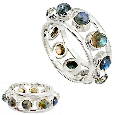 925 Sterling Silver Natural Blue Labradorite Band Ring Jewelry Size 7.5 J22852