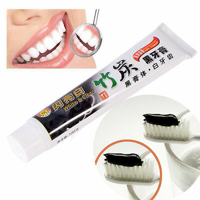 New 100ML Active Plant Bamboo Charcoal Whitening Toothpaste Remove Stains Black