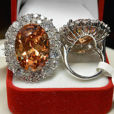 Grosse Bague T54 Ovale 35-25mm Marquise Champagne Cz Style Ancien Dolly-Bijoux