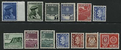 Norway: small collection of 13x unmounted mint stamps MNH - MM173