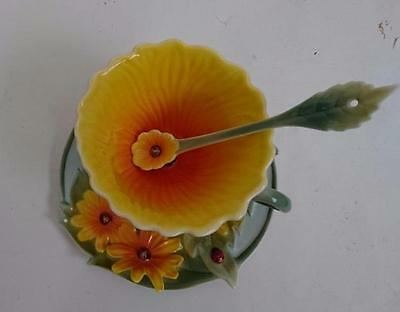 Floralis - Cup Saucer and Ceramic Spoon - Sunflower design