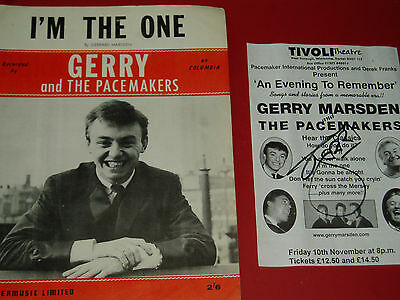 GERRY & THE PACEMAKERS...(POP)... HAND SIGNED AUTOGRAPH + Sheet Music