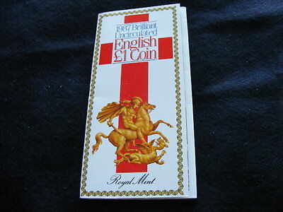 Royal Mint 1987 Brilliant Uncirculated English £1 coin in presentation pack