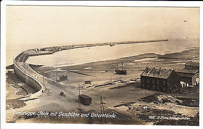 Mole in Zeebrugge in Belgium with cannons & shelters in WW1 – RARE RPPC