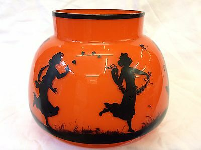 Bohemian Art Deco Orange Glass Cameo Vase Girls Dragonfly & Insects