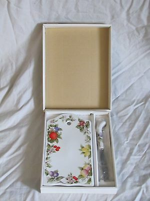 Andrea by Sadek, Fruit & Blossoms Porcelain Cheese Board w/ Knife Original Box