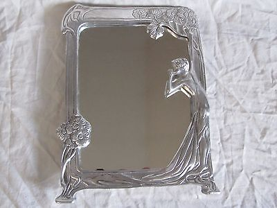 Vintage Art Deco Mirror w/ Aluminum Frame Woman w/ Tree, Morris Style, Table Top