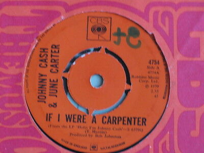 "Johnny Cash & June Carter ""if I Was A Carpenter"" 1970 Very Good + Condition"