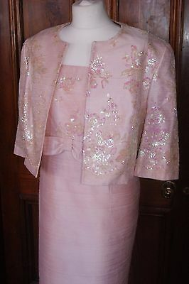 CONDICI Dress + Jacket Outfit Shell Pink Silk Mother of Bride Size 18 20 Bnwot