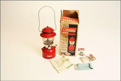Vintage COLEMAN 200A LANTERN w Original Box RED camping pyrex glass metal 3 / 63