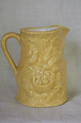 YELLOW PORCELAIN TABLE PITCHER ~  Birds and Nest