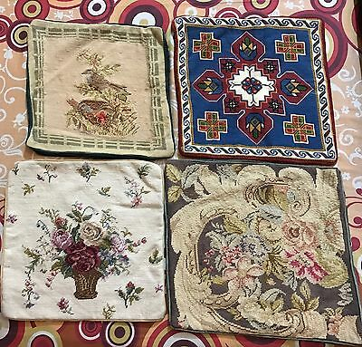"""4 Antique  French Aubusson Style Tapestry Decorative Cushion 15"""" By 16''"""