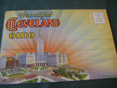 vtg 40s 50s POSTCARD FOLDER Cleveland OHIO souvenir photos Stadium ship