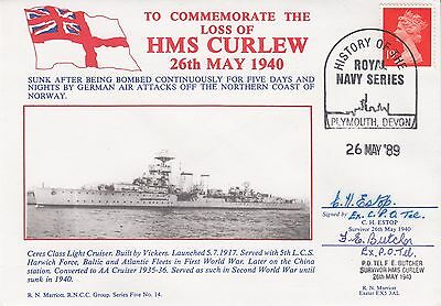 RNCC14b  Rare Loss of HMS Curlew Signed C Estopand F Butcher both  Survivors  26