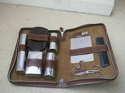 Vintage. Men's Grooming/shaving Kit Hide Leather Made In England Chrome Plated
