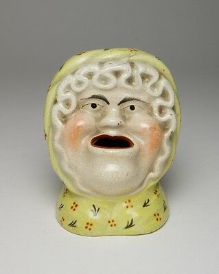 Amusing antique 19thc. Staffordshire pottery inkwell and pen stand