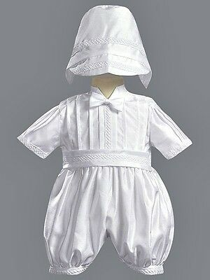 Boys White Baptism Suit Christening Outfit Romper Shantung & Hat Baby 3-24M 8820