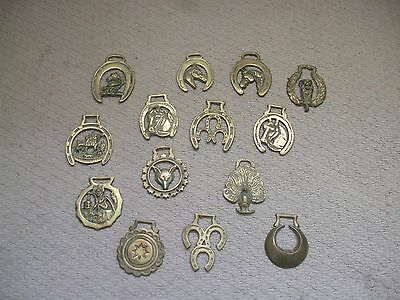 """Vintage & Original Collection Of 14 Horse Brass's Decorative Ornaments 4"""" High"""
