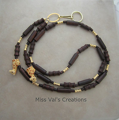 Handcrafted giraffe brown wood gold lanyard badge ID key holder beaded