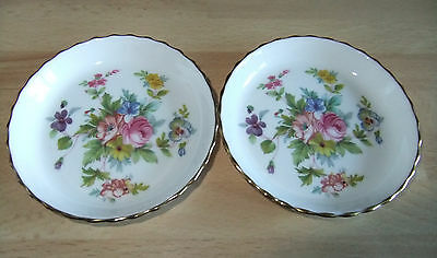 2 X SMALL MINTON BONE CHINA PIN DISHES 9cms MARLOW FLORAL DESIGN COLLECTABLE