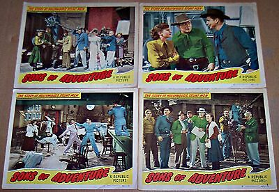 Sons Of Adventure (1948) Story Of Hollywood Stuntmen Lot Of 4 Orig Lobby Cards