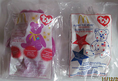 Rare Mc Donalds McDonalds Ty Teenie Bears Promotional Glory & Millennium Mint