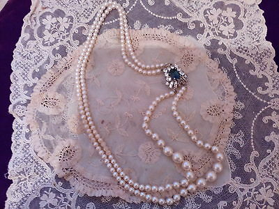 Vintage double strand of faux pearls c1960s with pretty side clasp.