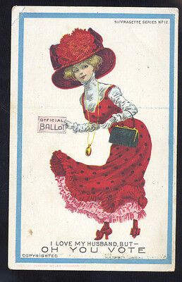 Oh You Vote Womens Right To Vote Suffragette Vintage Antique Postcard Girl