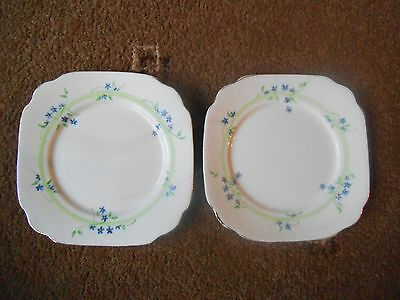 Vintage  ROYAL ALBERT ~ CROWN CHINA  1395  Blue Flowers 2 x SQUARE SIDE PLATE