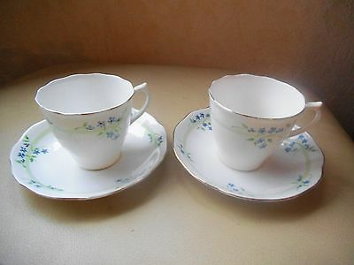 Vintage  ROYAL ALBERT ~ CROWN CHINA  1395  Blue Flowers 2 x CUP & SAUCER