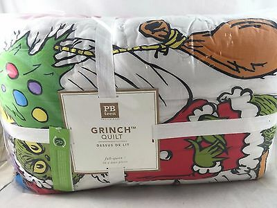 NEW Pottery Barn Teen The Grinch Holiday F/Q Full/Queen Quilt Christmas 2 shams