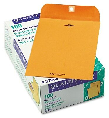 Quality Park Clasp Envelope 6 1/2 x 9 1/2 Brown Kraft 100/Box Durable Standard