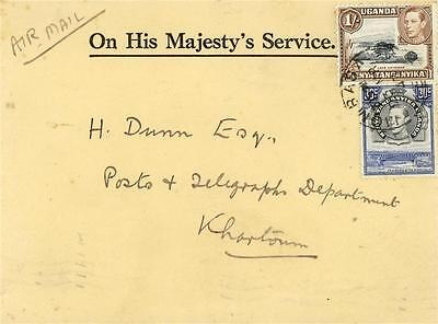KUT OHMS COVER BY AIRMAIL from MOMBASA to KHARTOUM 1943