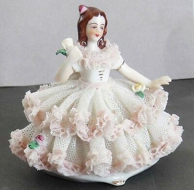 VINTAGE Dresden Pink/White Lace Porcelain Figurine Woman in Chair GERMANY 1950's