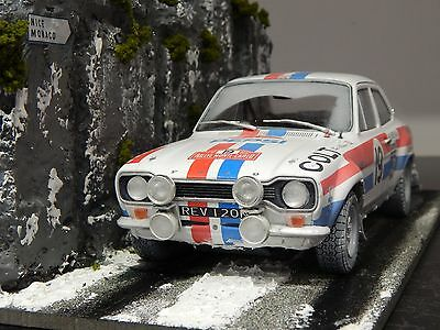 1/18 Ford Escort Mki 1972 Rally Car & Scene Diorama Rally Monte Carlo Rs2000 Mk1
