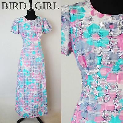 Puffed Sleeve 1960S Vintage Pink & White Floral Check Maxi Dress 10 S