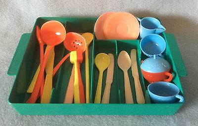 """VINTAGE 60s PLAY DOLL KITCHEN CUTLERY / UTENSIL TRAY SET SUITABLE 16"""" - 20"""" DOLL"""