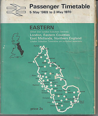 British Rail Eastern Passenger Timetable May 1969 to May 1970 SALE Just £1