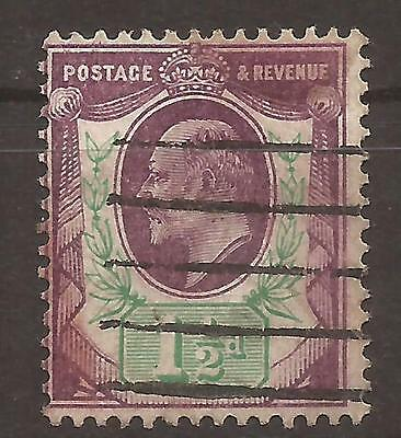 1902 1½d definitive dull purple and green used, SG 221.