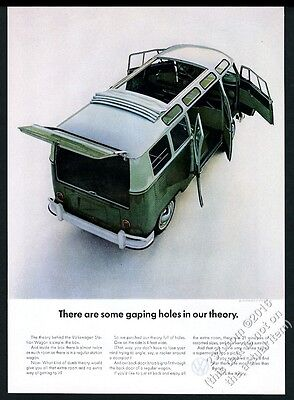 1964 VW Volkswagen Bus green microbus color photo vintage print ad